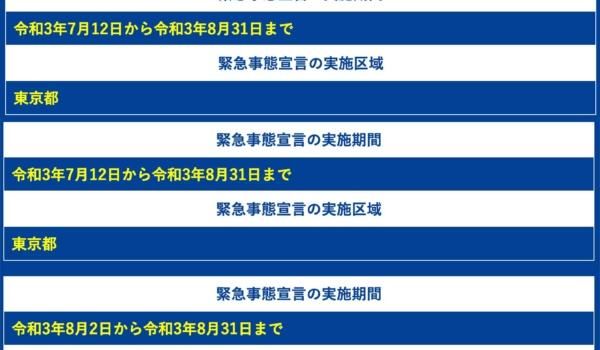 緊急事態宣言・まん延防止等重点措置の日程と地域(21/8/4現在)【内閣府】